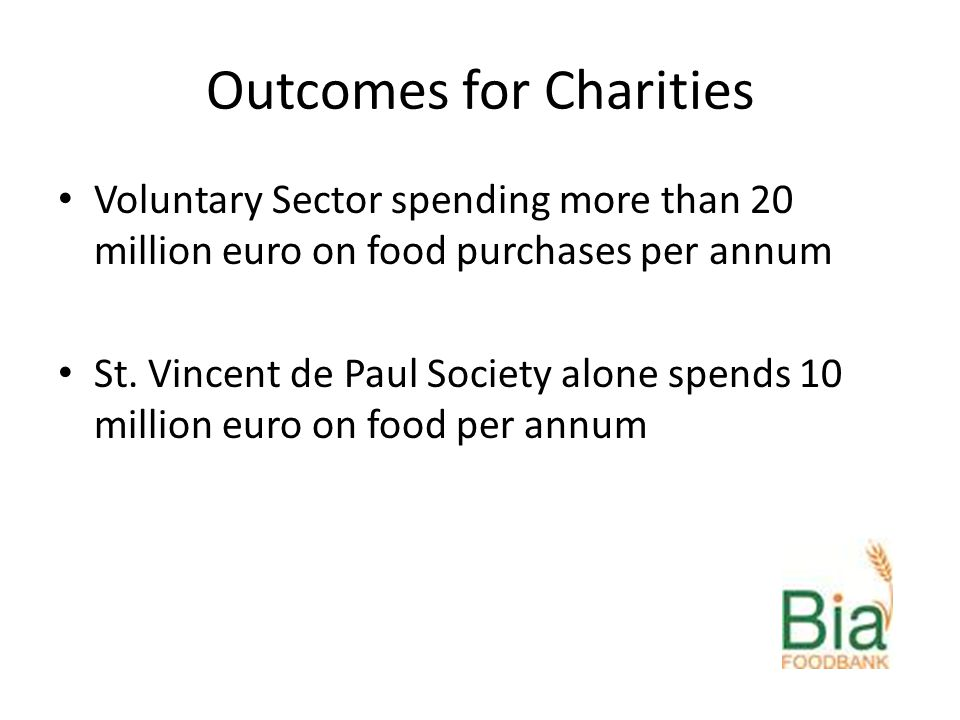 Outcomes for Charities Voluntary Sector spending more than 20 million euro on food purchases per annum St.