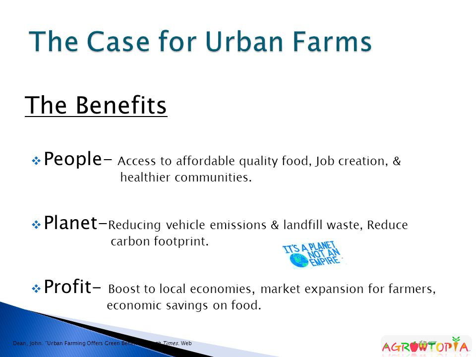 The Benefits  People- Access to affordable quality food, Job creation, & healthier communities.