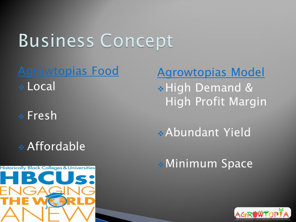 Agrowtopias Food  Local  Fresh  Affordable Agrowtopias Model  High Demand & High Profit Margin  Abundant Yield  Minimum Space
