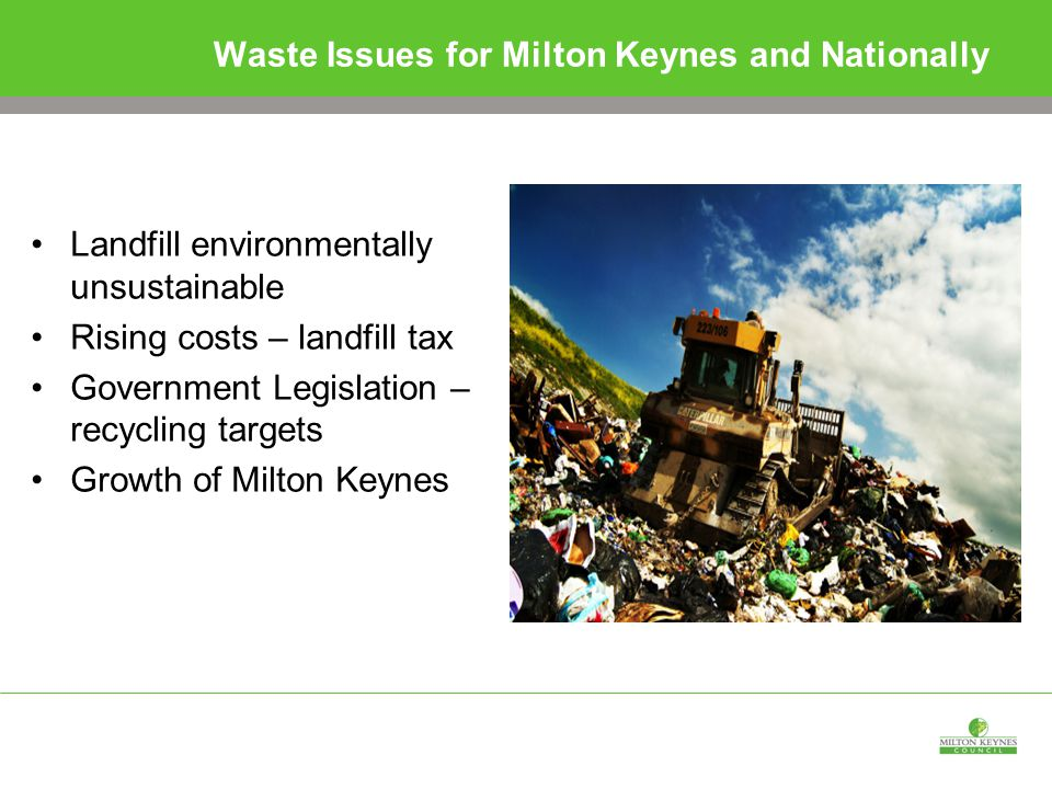 Waste Issues for Milton Keynes and Nationally Landfill environmentally unsustainable Rising costs – landfill tax Government Legislation – recycling targets Growth of Milton Keynes
