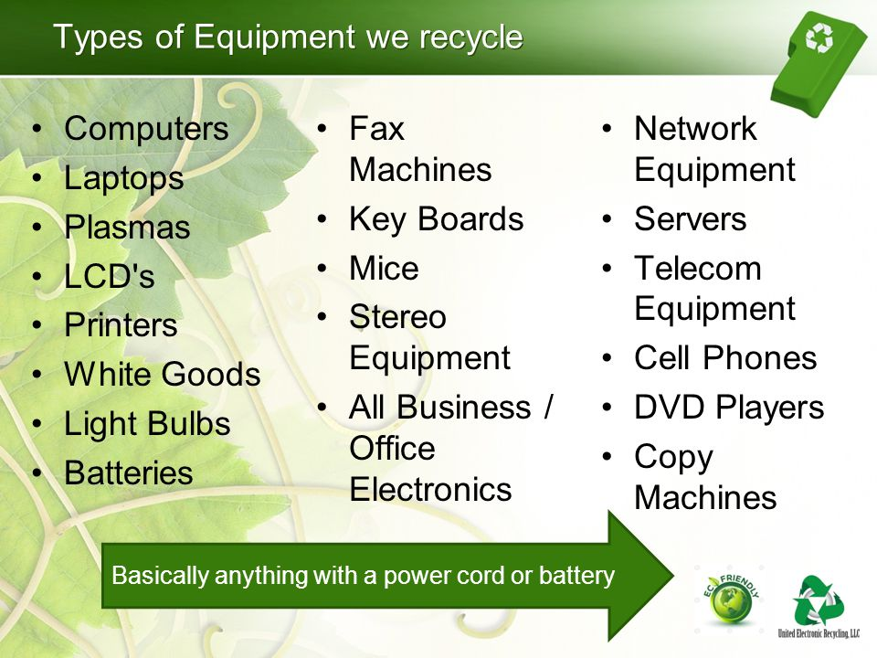 Types of Equipment we recycle Computers Laptops Plasmas LCD's Printers White Goods Light Bulbs Batteries Fax Machines Key Boards Mice Stereo Equipment