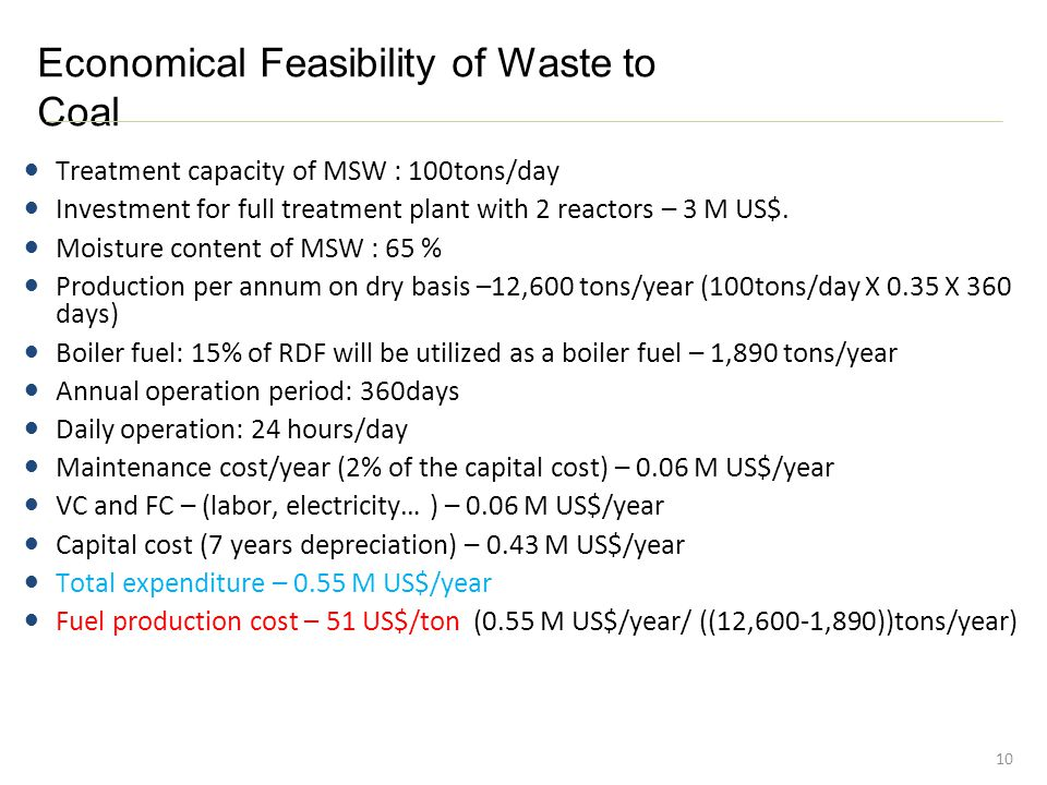 Economical Feasibility of Waste to Coal 10 Treatment capacity of MSW : 100tons/day Investment for full treatment plant with 2 reactors – 3 M US$.