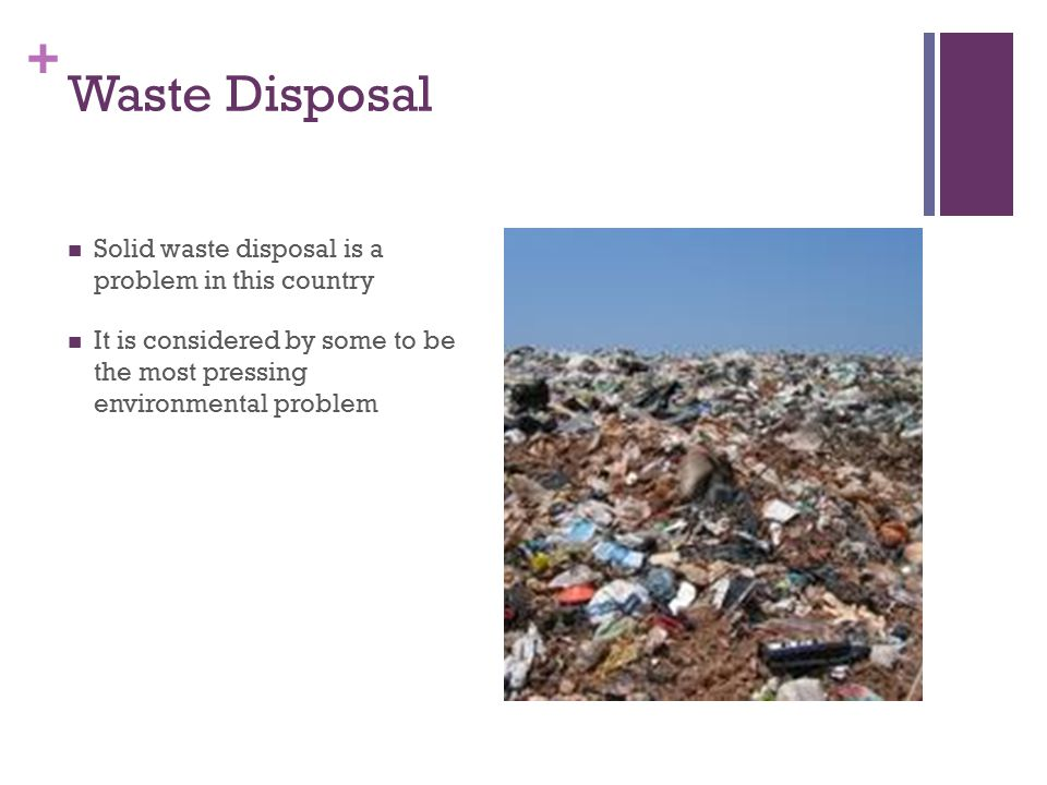 + Waste Disposal Solid waste disposal is a problem in this country It is considered by some to be the most pressing environmental problem