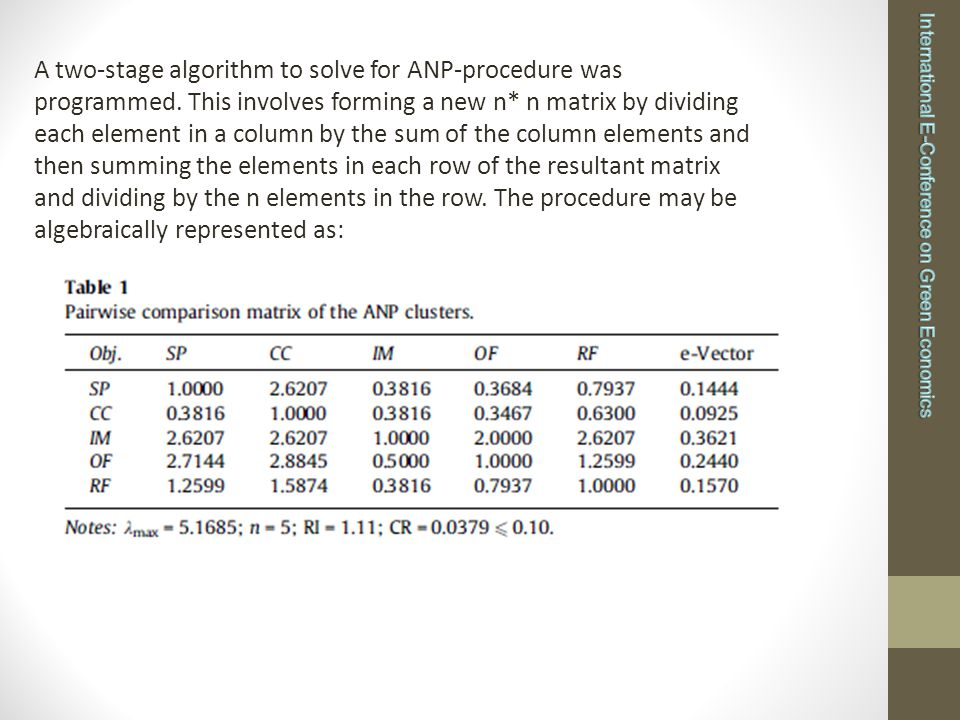 A two-stage algorithm to solve for ANP-procedure was programmed.
