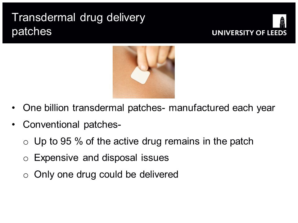Transdermal drug delivery patches One billion transdermal patches- manufactured each year Conventional patches- o Up to 95 % of the active drug remains in the patch o Expensive and disposal issues o Only one drug could be delivered