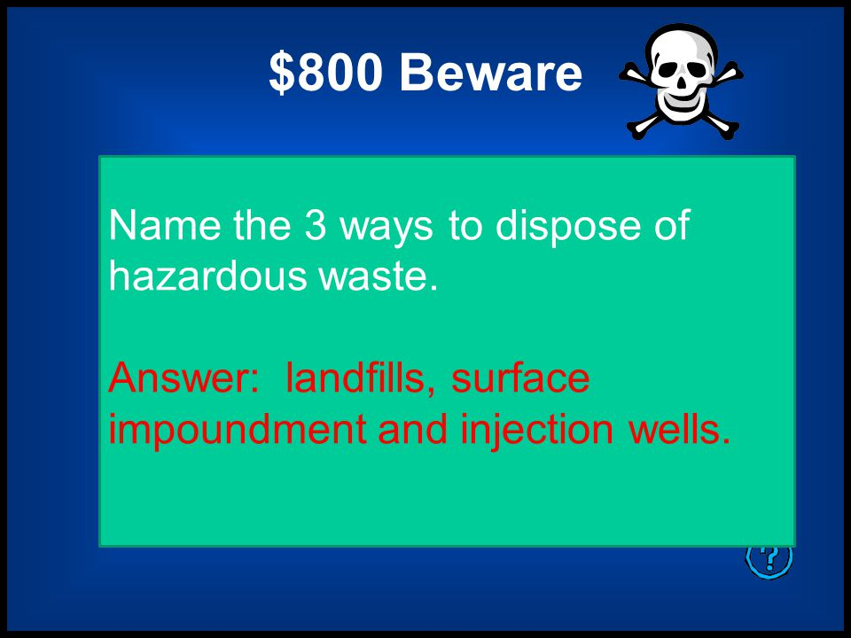 $600 Beware A cleanup program developed to address US sites polluted with hazardous waste from past dumpings.