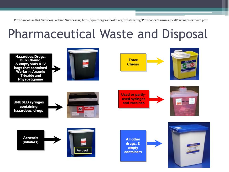 Pharmaceutical Waste and Disposal Aerosols (inhalers) Hazardous Drugs, Bulk Chemo, & empty vials & IV bags that contained Warfarin, Arsenic Trioxide and Physostigmine Hazardous Drugs, Bulk Chemo, & empty vials & IV bags that contained Warfarin, Arsenic Trioxide and Physostigmine Trace Chemo All other drugs, & empty containers UNUSED syringes containing hazardous drugs Used or partly- used syringes and vaccines Aerosol Providence Health & Services (Portland Service area) https://practicegreenhealth.org/pubs/sharing/ProvidencePharmaceuticalTrainingPowerpoint.pptx