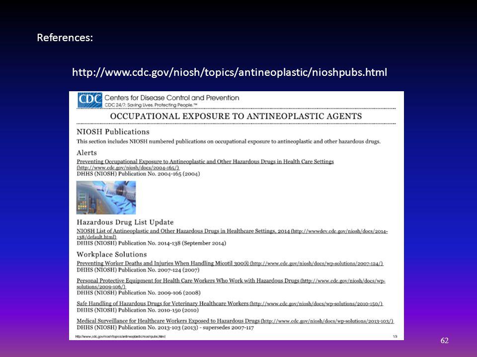 References: http://www.cdc.gov/niosh/topics/antineoplastic/nioshpubs.html 62