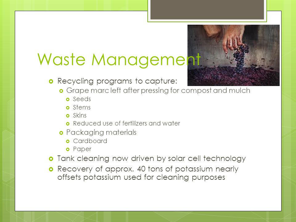 Waste Management  Recycling programs to capture:  Grape marc left after pressing for compost and mulch  Seeds  Stems  Skins  Reduced use of fertilizers and water  Packaging materials  Cardboard  Paper  Tank cleaning now driven by solar cell technology  Recovery of approx.
