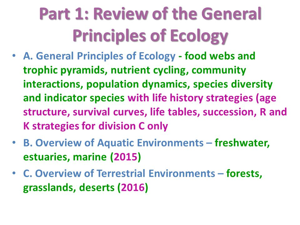 Part 1: Review of the General Principles of Ecology A.