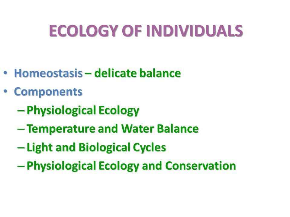 ECOLOGY OF INDIVIDUALS Homeostasis – delicate balance Homeostasis – delicate balance Components Components – Physiological Ecology – Temperature and Water Balance – Light and Biological Cycles – Physiological Ecology and Conservation