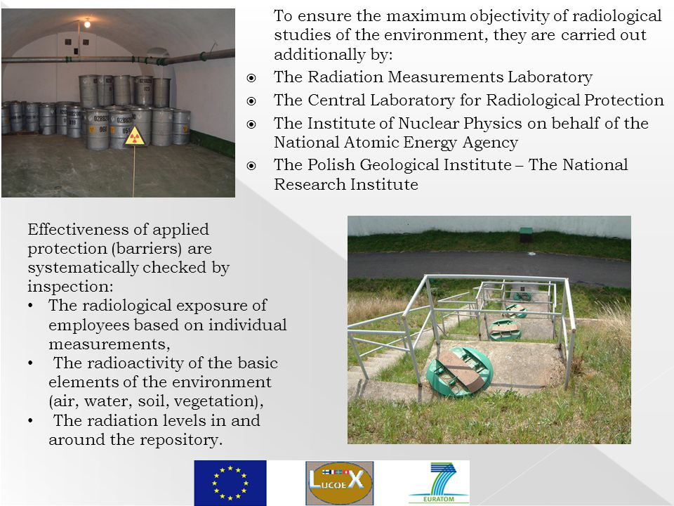 To ensure the maximum objectivity of radiological studies of the environment, they are carried out additionally by:  The Radiation Measurements Laboratory  The Central Laboratory for Radiological Protection  The Institute of Nuclear Physics on behalf of the National Atomic Energy Agency  The Polish Geological Institute – The National Research Institute Effectiveness of applied protection (barriers) are systematically checked by inspection: The radiological exposure of employees based on individual measurements, The radioactivity of the basic elements of the environment (air, water, soil, vegetation), The radiation levels in and around the repository.