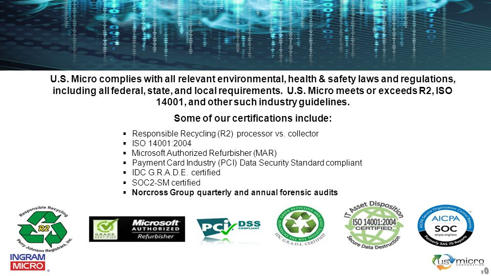 U.S. Micro complies with all relevant environmental, health & safety laws and regulations, including all federal, state, and local requirements. U.S.