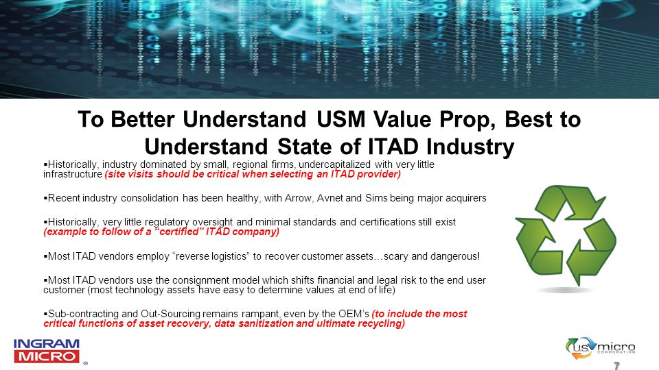 To Better Understand USM Value Prop, Best to Understand State of ITAD Industry  Historically, industry dominated by small, regional firms, undercapit