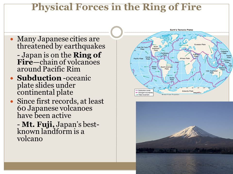 Physical Forces in the Ring of Fire Many Japanese cities are threatened by earthquakes - Japan is on the Ring of Fire—chain of volcanoes around Pacifi