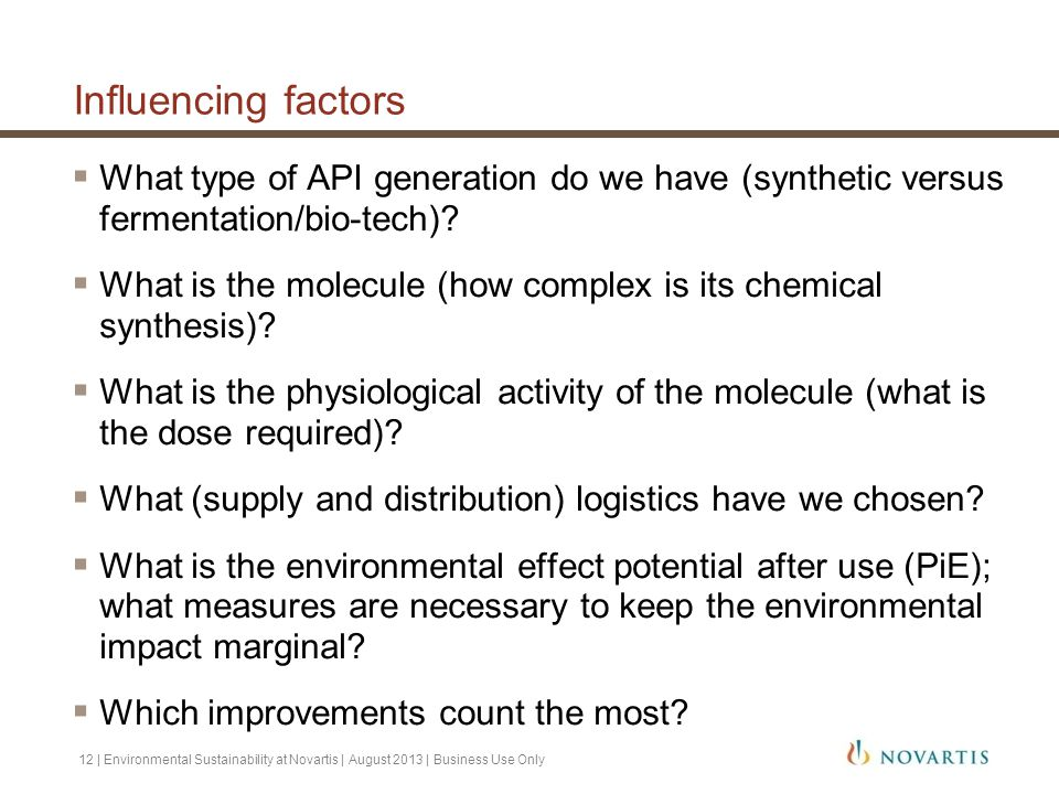Influencing factors  What type of API generation do we have (synthetic versus fermentation/bio-tech)?  What is the molecule (how complex is its chem
