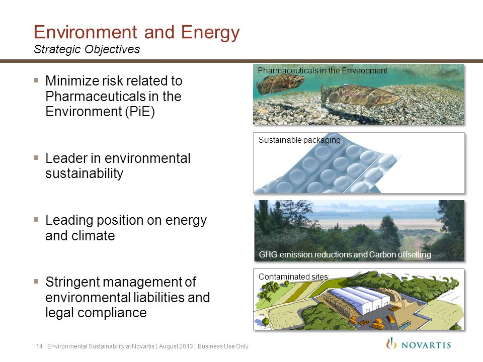 Environment and Energy Strategic Objectives  Minimize risk related to Pharmaceuticals in the Environment (PiE)  Leader in environmental sustainabili