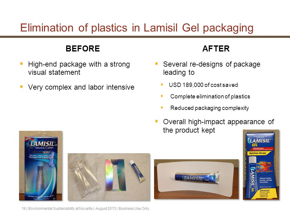 Elimination of plastics in Lamisil Gel packaging BEFORE  High-end package with a strong visual statement  Very complex and labor intensive AFTER  S