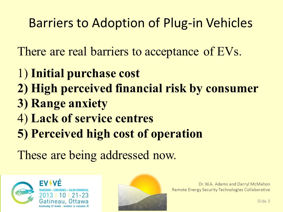 There are real barriers to acceptance of EVs.