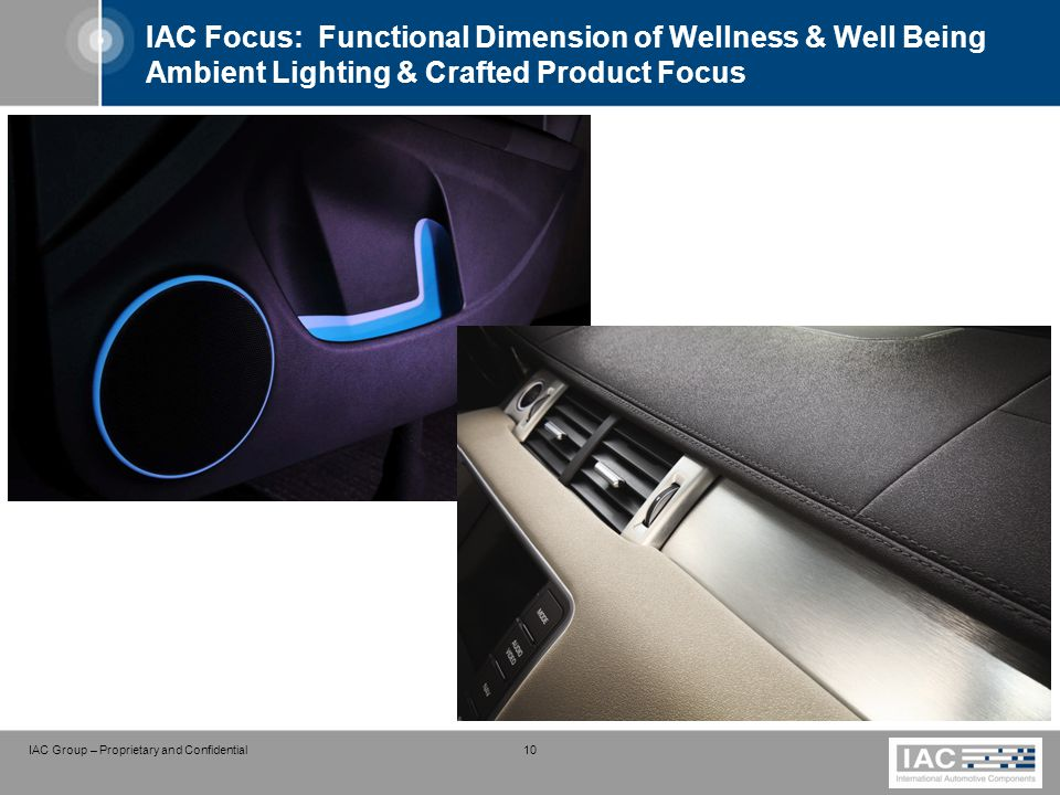IAC Group – Proprietary and Confidential 10 IAC Focus: Functional Dimension of Wellness & Well Being Ambient Lighting & Crafted Product Focus