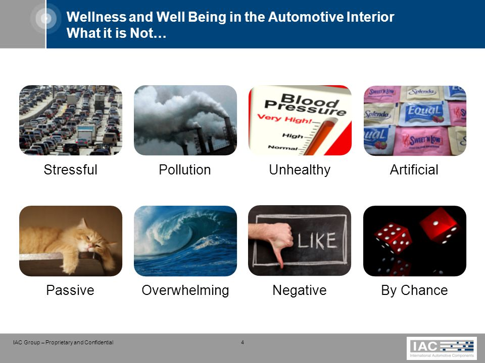 IAC Group – Proprietary and Confidential 4 Wellness and Well Being in the Automotive Interior What it is Not… StressfulPollutionUnhealthyArtificial Pa