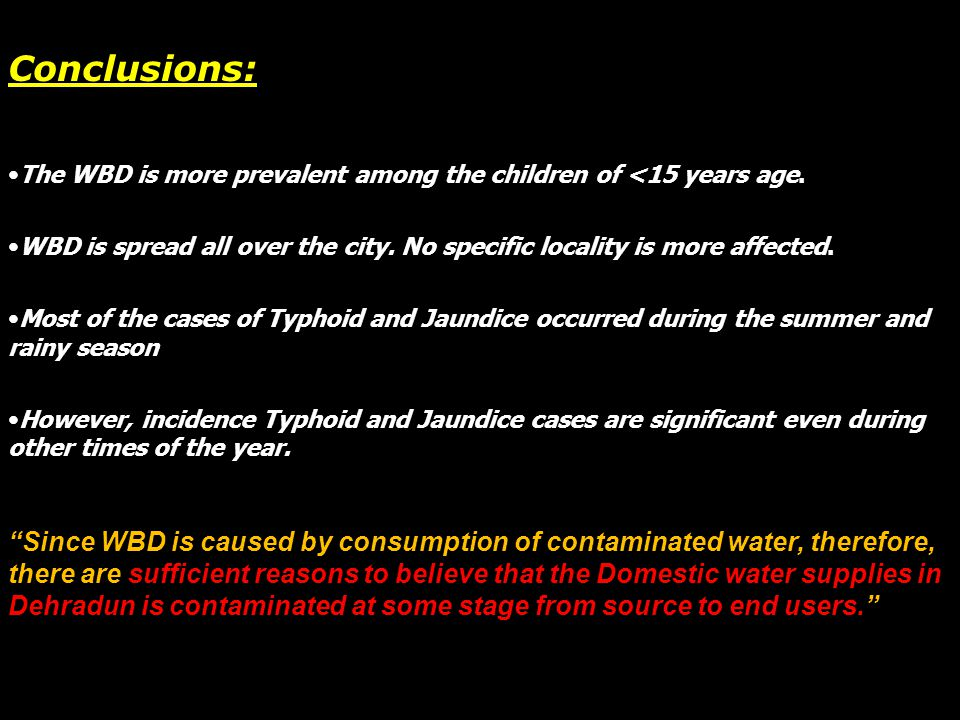 Conclusions: The WBD is more prevalent among the children of <15 years age. WBD is spread all over the city. No specific locality is more affected. Mo