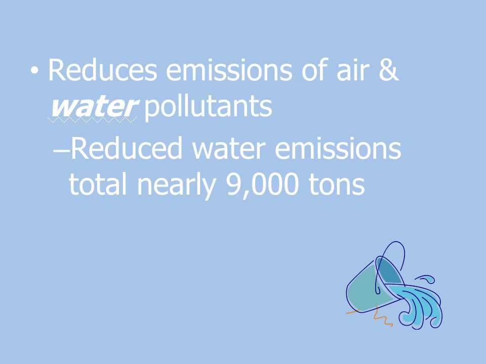 Reduces emissions of air & water pollutants – Reduced water emissions total nearly 9,000 tons