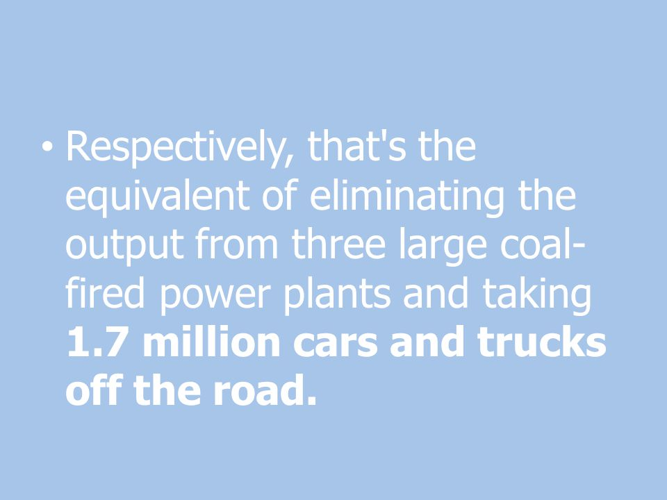 Respectively, that's the equivalent of eliminating the output from three large coal- fired power plants and taking 1.7 million cars and trucks off the
