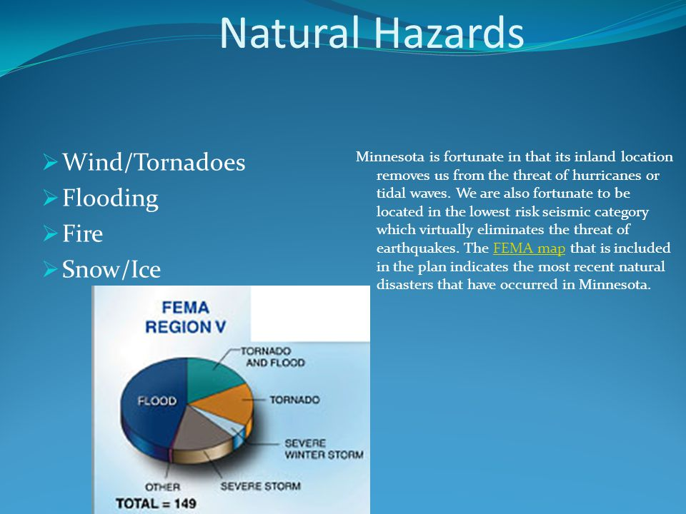 Natural Hazards  Wind/Tornadoes  Flooding  Fire  Snow/Ice Minnesota is fortunate in that its inland location removes us from the threat of hurricanes or tidal waves.