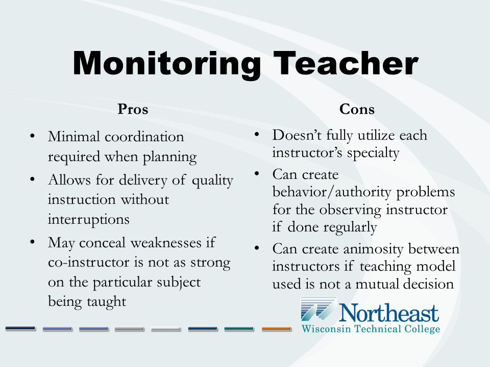 Monitoring Teacher Pros Minimal coordination required when planning Allows for delivery of quality instruction without interruptions May conceal weaknesses if co-instructor is not as strong on the particular subject being taught Cons Doesn't fully utilize each instructor's specialty Can create behavior/authority problems for the observing instructor if done regularly Can create animosity between instructors if teaching model used is not a mutual decision