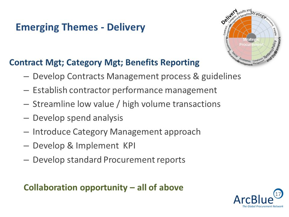 17 Emerging Themes - Delivery Contract Mgt; Category Mgt; Benefits Reporting – Develop Contracts Management process & guidelines – Establish contractor performance management – Streamline low value / high volume transactions – Develop spend analysis – Introduce Category Management approach – Develop & Implement KPI – Develop standard Procurement reports Collaboration opportunity – all of above