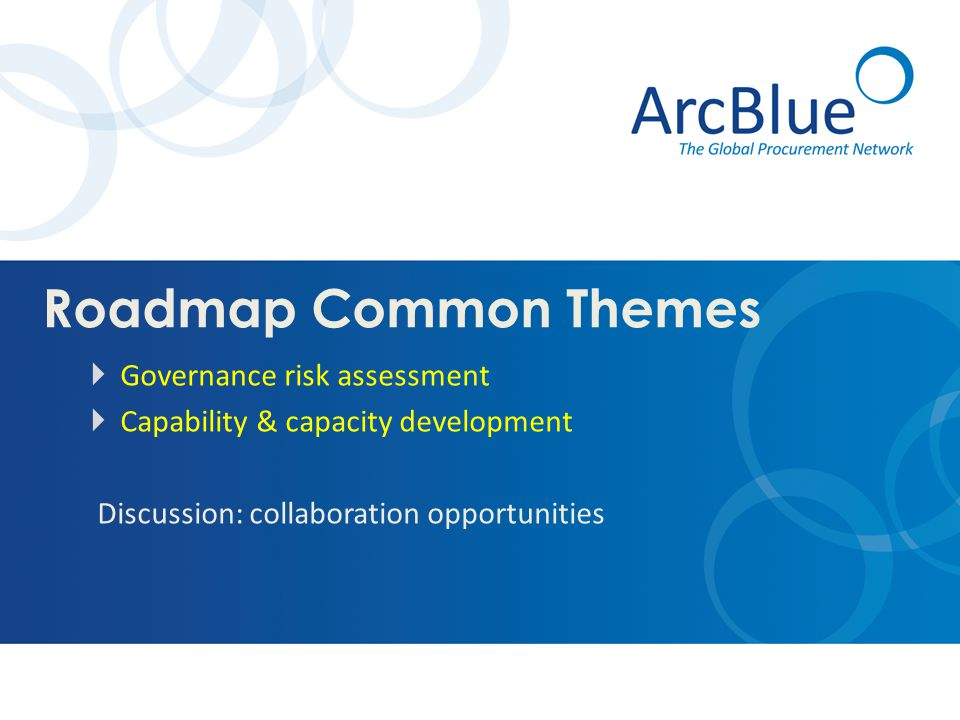 Roadmap Common Themes  Governance risk assessment  Capability & capacity development Discussion: collaboration opportunities