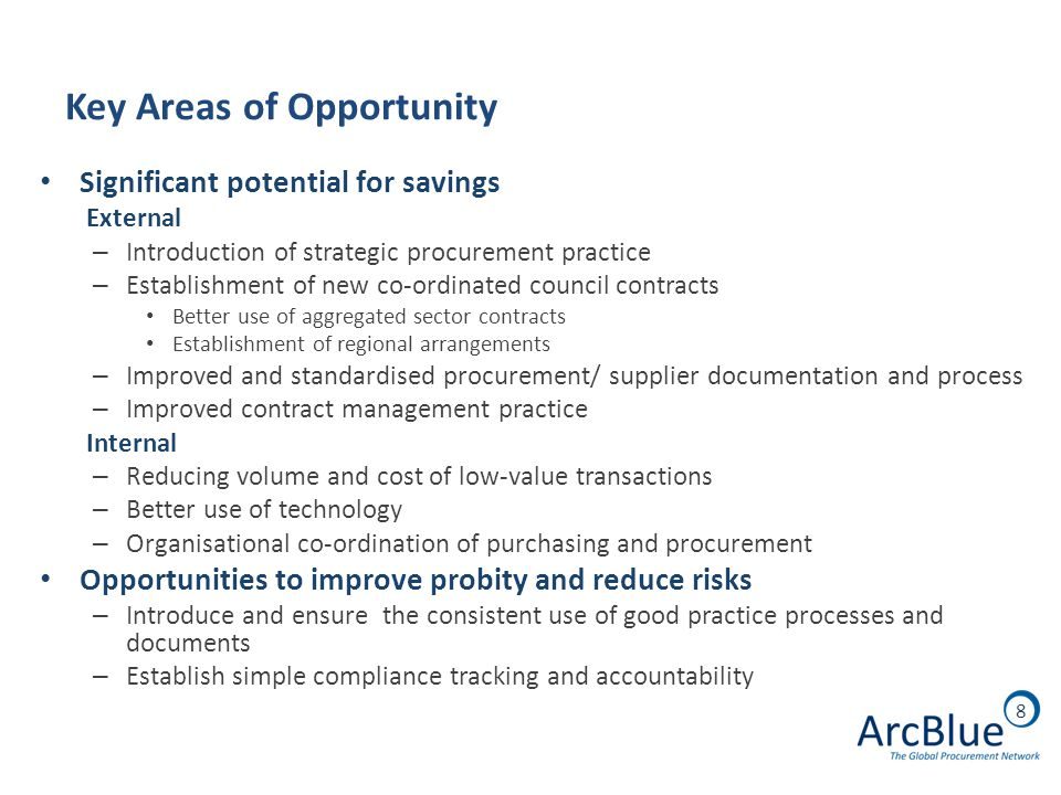 8 Key Areas of Opportunity Significant potential for savings External – Introduction of strategic procurement practice – Establishment of new co-ordinated council contracts Better use of aggregated sector contracts Establishment of regional arrangements – Improved and standardised procurement/ supplier documentation and process – Improved contract management practice Internal – Reducing volume and cost of low-value transactions – Better use of technology – Organisational co-ordination of purchasing and procurement Opportunities to improve probity and reduce risks – Introduce and ensure the consistent use of good practice processes and documents – Establish simple compliance tracking and accountability