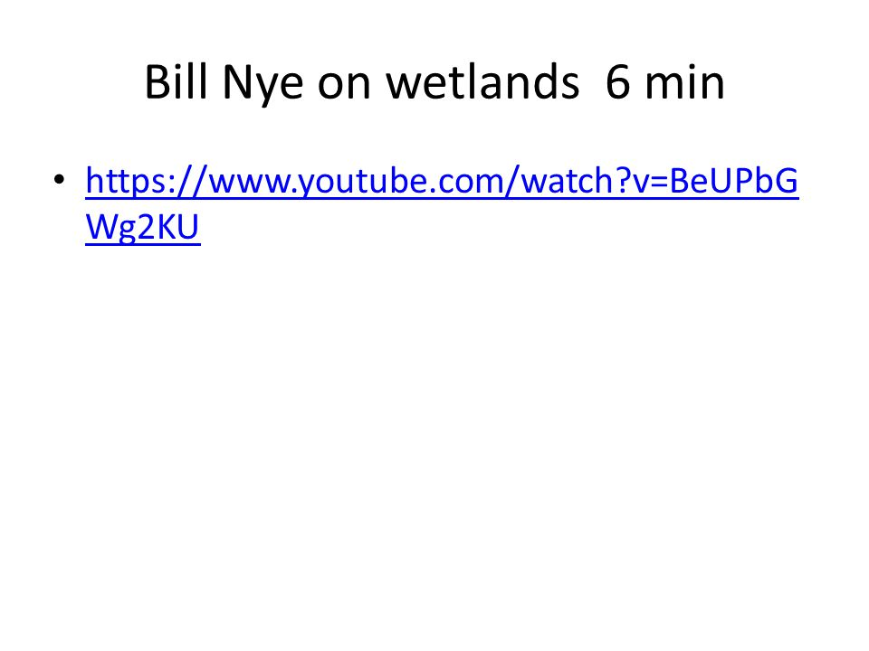 Bill Nye on wetlands 6 min https://www.youtube.com/watch?v=BeUPbG Wg2KU https://www.youtube.com/watch?v=BeUPbG Wg2KU
