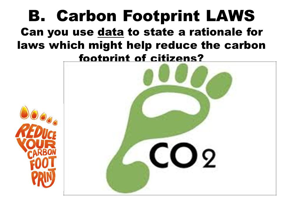 B. Carbon Footprint LAWS Can you use data to state a rationale for laws which might help reduce the carbon footprint of citizens?