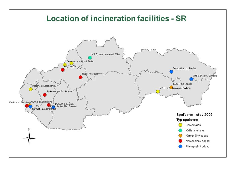 Location of incineration facilities - SR