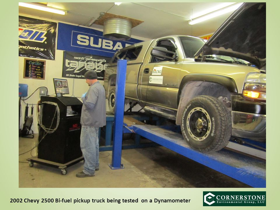 2002 Chevy 2500 Bi-fuel pickup truck being tested on a Dynamometer
