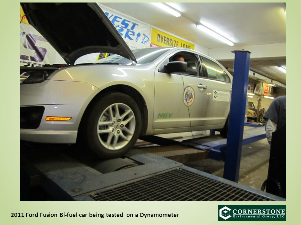 2011 Ford Fusion Bi-fuel car being tested on a Dynamometer