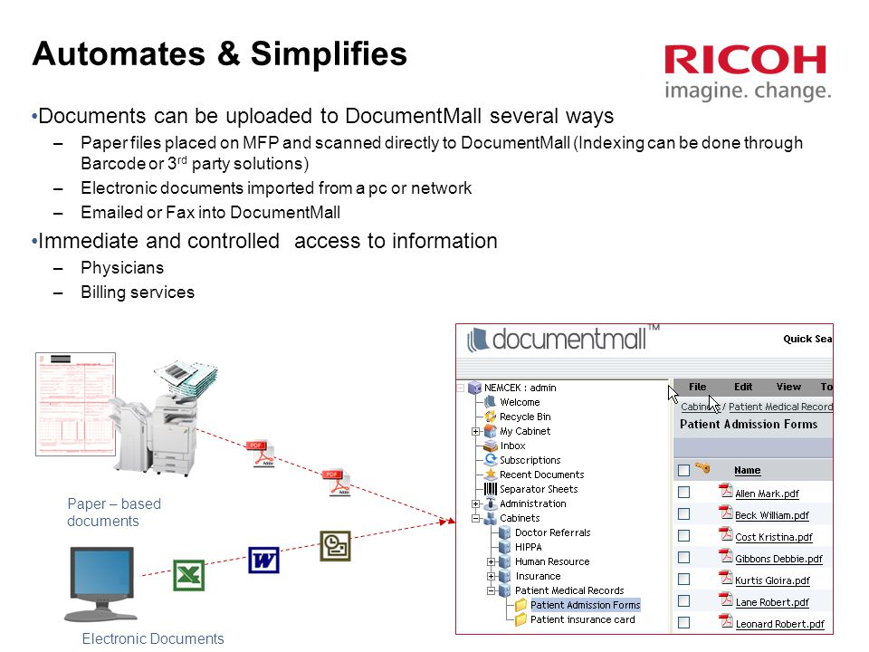 31 Automates & Simplifies Workflow Documents can be uploaded to DocumentMall several ways –Paper files placed on MFP and scanned directly to DocumentMall (Indexing can be done through Barcode or 3 rd party solutions) –Electronic documents imported from a pc or network –Emailed or Fax into DocumentMall Immediate and controlled access to information –Physicians –Billing services Paper – based documents Electronic Documents