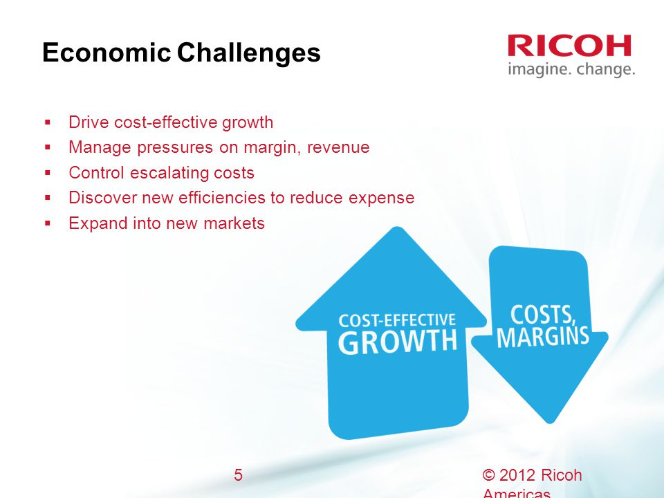 Economic Challenges  Drive cost-effective growth  Manage pressures on margin, revenue  Control escalating costs  Discover new efficiencies to reduce expense  Expand into new markets 5© 2012 Ricoh Americas Corporation.