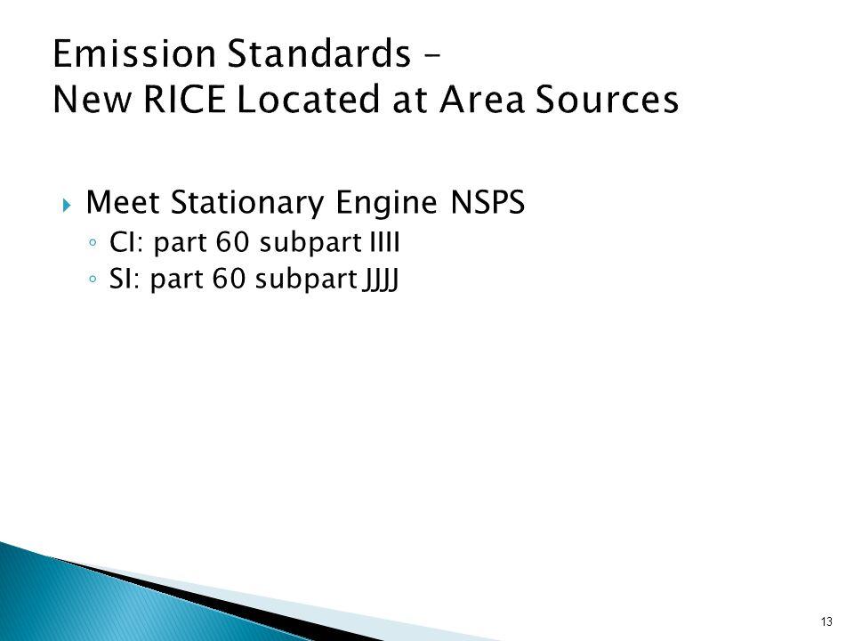  Meet Stationary Engine NSPS ◦ CI: part 60 subpart IIII ◦ SI: part 60 subpart JJJJ 13