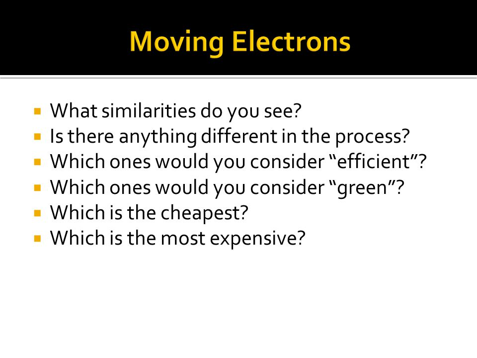 " What similarities do you see?  Is there anything different in the process?  Which ones would you consider ""efficient""?  Which ones would you cons"