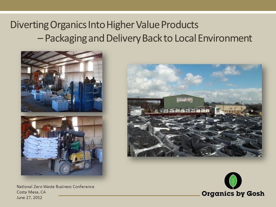 National Zero Waste Business Conference Costa Mesa, CA June 27, 2012 Diverting Organics Into Higher Value Products – Packaging and Delivery Back to Local Environment