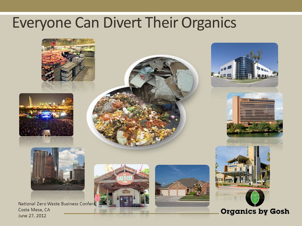 National Zero Waste Business Conference Costa Mesa, CA June 27, 2012 Everyone Can Divert Their Organics