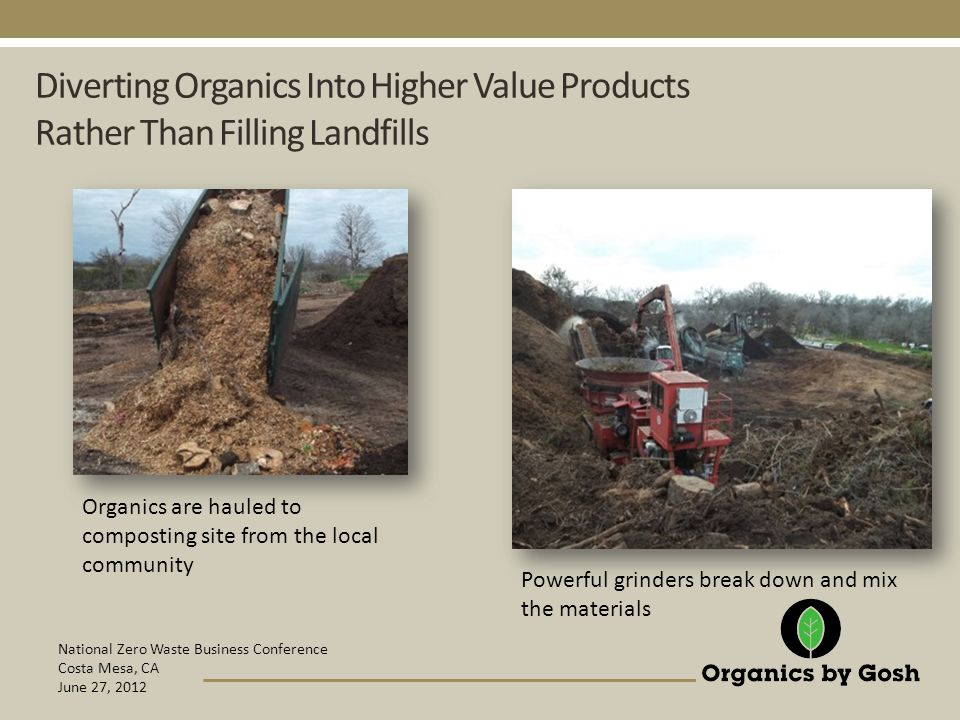 National Zero Waste Business Conference Costa Mesa, CA June 27, 2012 Diverting Organics Into Higher Value Products Rather Than Filling Landfills Organics are hauled to composting site from the local community Powerful grinders break down and mix the materials