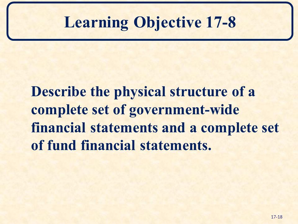 Learning Objective 17-8 Describe the physical structure of a complete set of government-wide financial statements and a complete set of fund financial statements.