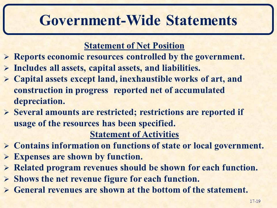 Government-Wide Statements Statement of Net Position  Reports economic resources controlled by the government.