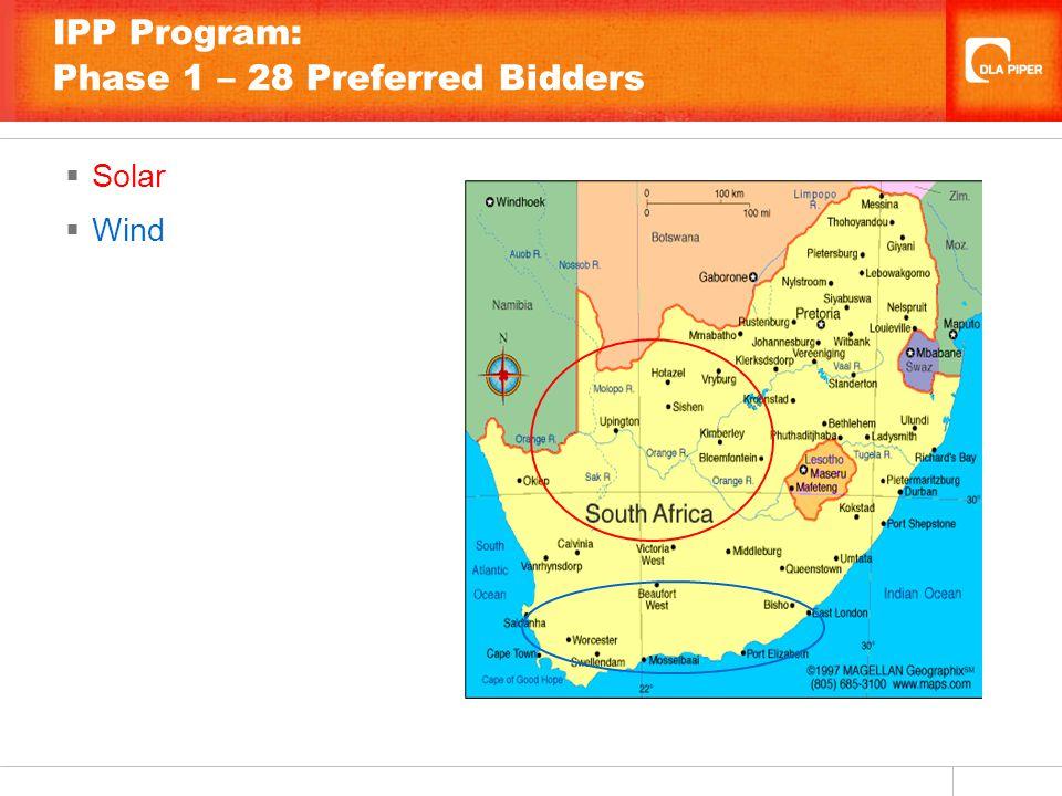 IPP Program: Phase 1 – 28 Preferred Bidders  Solar  Wind