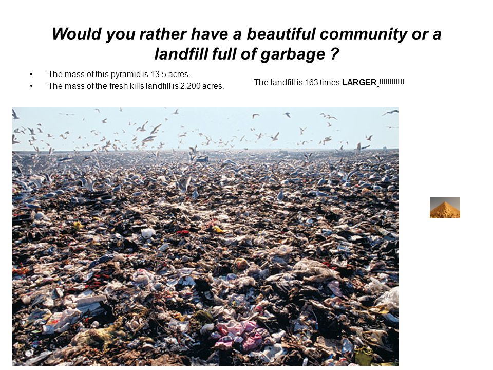 Would you rather have a beautiful community or a landfill full of garbage .
