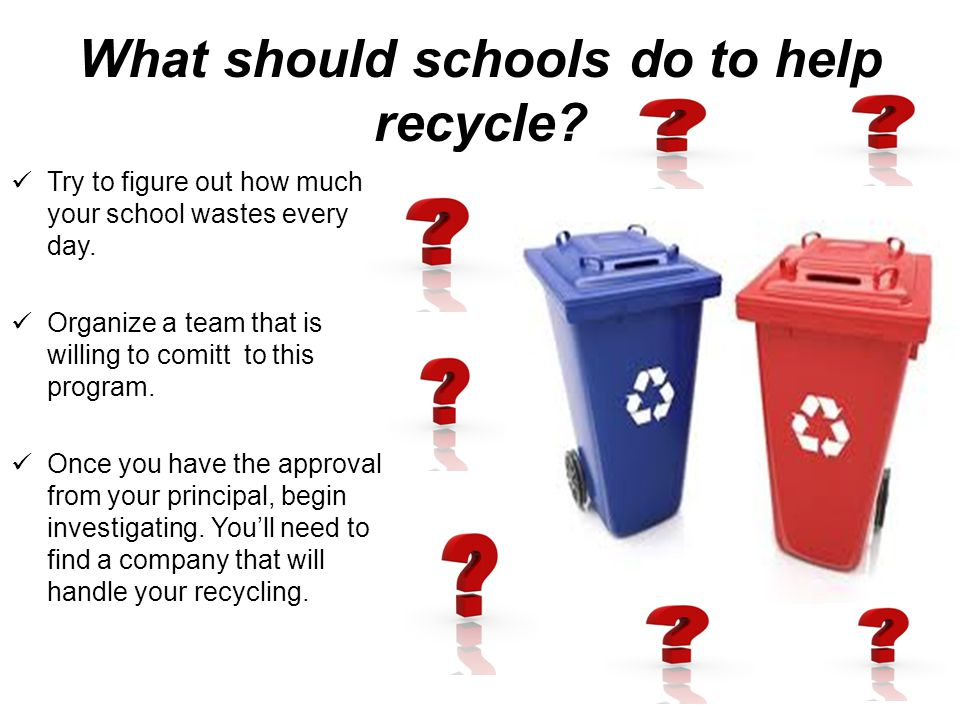What should schools do to help recycle. Try to figure out how much your school wastes every day.